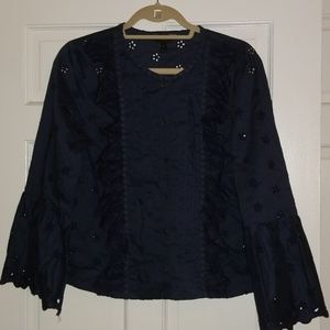 j crew navy blouse